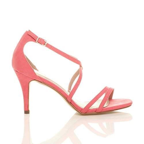 Ajvani Womens Ladies mid Low high Heel Strappy Crossover Party Wedding Prom Sandals Shoes Size Coral Suede K3vrB