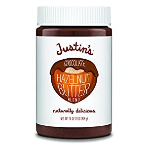 Chocolate Hazelnut Butter by Justin's, Organic Cocoa, No Stir, Gluten-free, Responsibly Sourced, 16oz Jar