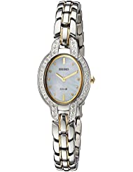 Seiko Womens TRESSIA Quartz Stainless Steel Casual Watch, Color:Two Tone (Model: SUP325)