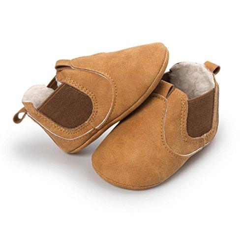 ❆Huhu833 Kinder Mode Baby Schuhe Soft Sole, Baby Kleinkind Plüsch Sole einzelne Schuhe beiläufige Mit Samt Schuhe (0~18 Month) Gelb