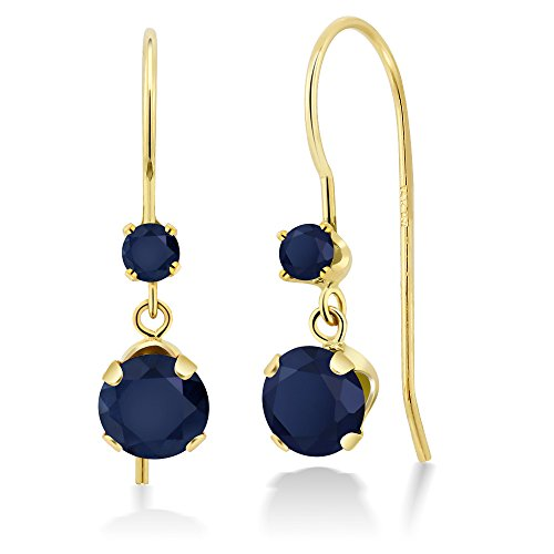 Gem Stone King 1.30 Ct Round Blue Sapphire 14K Yellow Gold Earrings ()