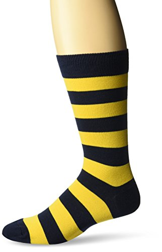 Hot Sox Men's Fashion Pattern Slack Crew Socks, College Rugby Stripe (Navy/Yellow), Shoe Size: 6-12