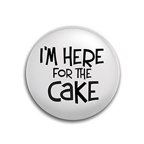 "Epic 01-111 2"" Im Here for The Cake White Party Button Pen with Black Text"