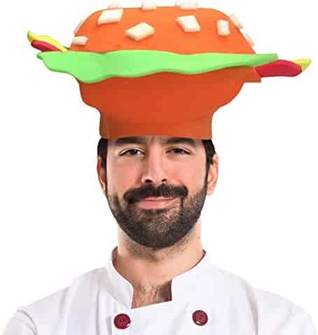 Hamburger Foam Party Hat for Men Women One Size Fits Most b332e973b