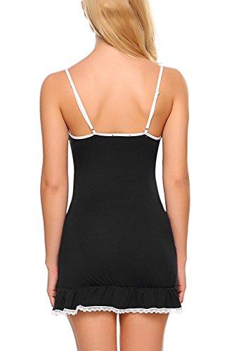 Avidlove - Camisón - cuello en V - Sin mangas - para mujer negro