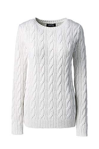 (Lands' End Women's Drifter Cotton Cable Knit Sweater Crewneck, XS, Soft Almond Donegal)