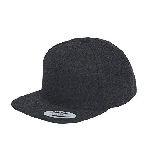 (Yupoong Melton Wool Snapback Cap 6689M by Flexfit (Dark Grey))