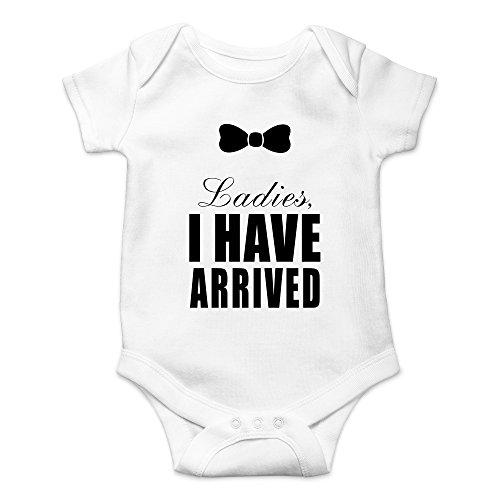 (CBTWear Ladies I Have Arrived - Gentleman Funny Newborn Romper Cute Novelty Infant One-Piece Baby Bodysuit (6 Months, White))