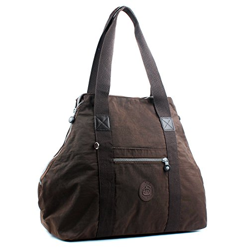Pockets Strap Holdall With Women Fabric Zip Aossta Multiuple Shoulder Black Multi Lightweight Handbag Nylon qYUAx7fwT
