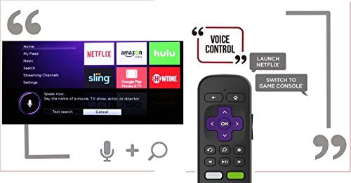 Replacement Enhanced Voice Remote with Headphone Jack Voice Control for Roku 3/ Roku 4/Roku Premiere/Ultra, Compatible with 2015 Newer Model Roku Stick [No TV Power Button] by IKU (Image #2)