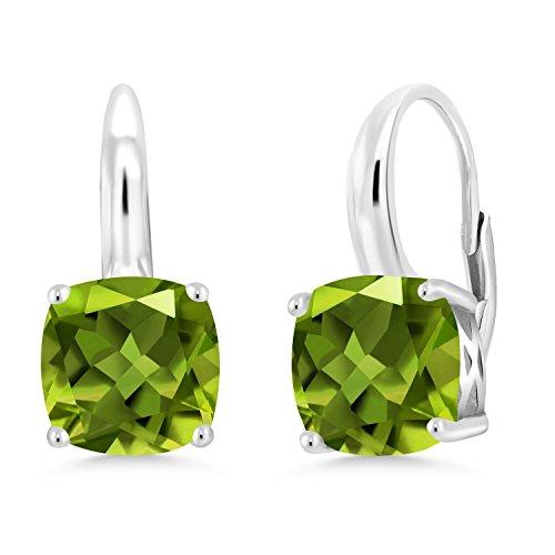 Gem Stone King Green Peridot 925 Sterling Silver Earrings 4.90 Ct Gemstone Birthstone Cushion 8MM