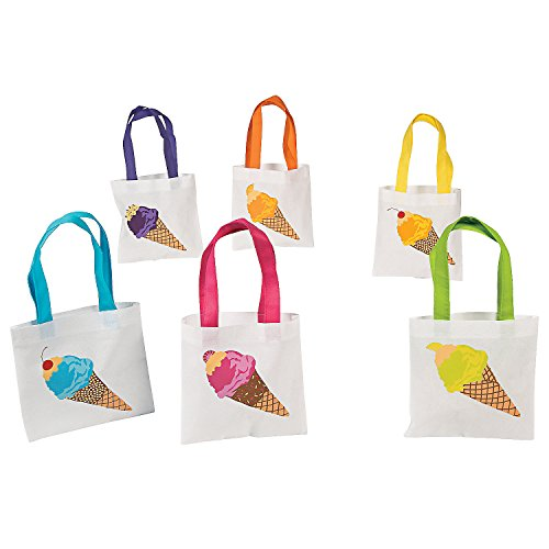 Fun Express - Ice Cream Tote Bag for Birthday - Apparel Accessories - Totes - Novelty Totes - Birthday - 12 Pieces