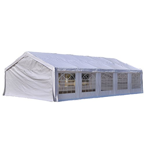 Outsunny 32′ x 20′ Heavy Duty Outdoor Party Tent / Carport – White