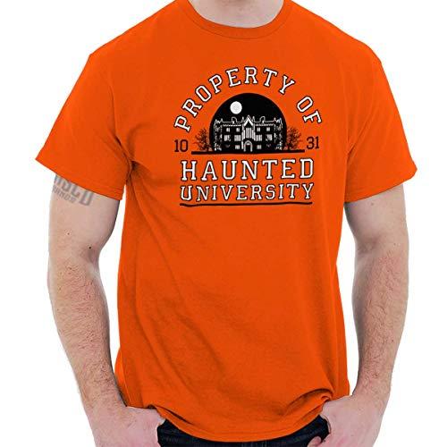 Brisco Brands Haunted University College Halloween Scary T Shirt Tee Orange ()