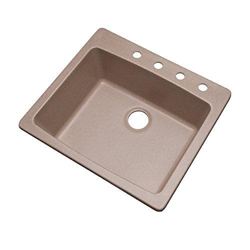 Desert Sand Granite - Dekor Sinks 40415Q Bridgewood Composite Granite Single Bowl Sink with Four Holes, 25