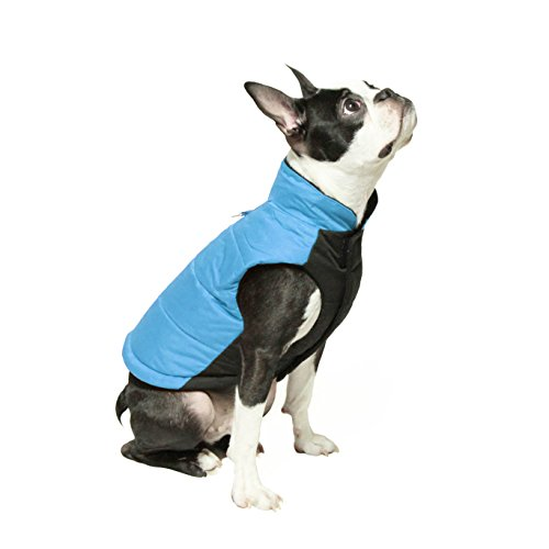 (Gooby - Wind Parka, Fleece Lined Small Dog Jacket Coat Sweater with Water Resistant Shell and Leash Ring, Blue, Large)