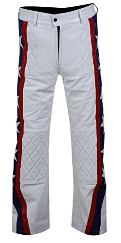 CHICAGO-FASHIONS Daredevil Evel Knievel White Biker Leather Costume Jacket