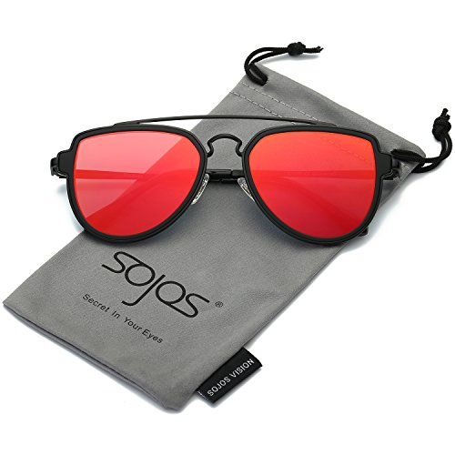 SojoS Fashion Aviator Sunglasses Polarized Mirrored Lens Double Bridge SJ1051 Black Frame/Red Polarized - Sunglasses Men Looking For Best