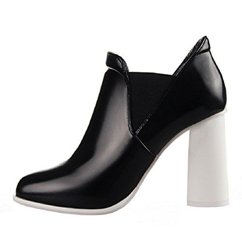 HooH Women's Winter Retro Chunky Ankle Boots Black 532tM1