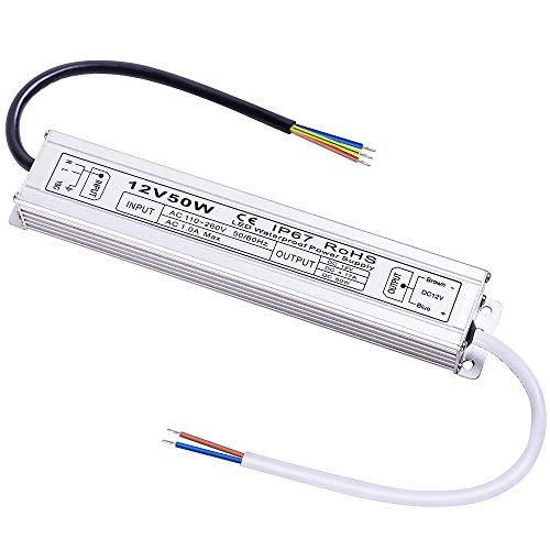 Idealy 50W DC 12V Waterproof LED Power Supply Driver Transformer for Lighting Strip with Outdoor
