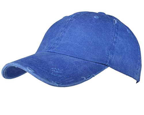 Beurlike Ponytail Baseball Cap High Bun Ponycap Adjustable Mesh Trucker Hats (002 (Distressed Washed Cotton) - Royal Blue)