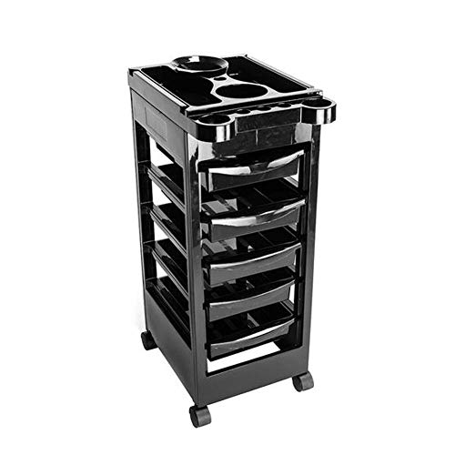 5 Tiers Salon SPA Trolley Plastic Storage Cart Hairdresser Beauty Storage Trolley Rolling Trolley Cart Black