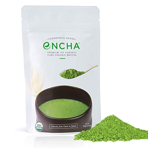 Encha Ceremonial Grade Organic Matcha (USDA Organic Certificate and Antioxidant Content Listed, Premium First Harvest Matcha Green Tea Powder Directly from Farm in Uji, Japan, 30g/1.06oz Size)