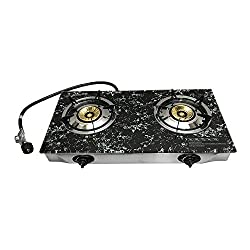 28 X 17 Propane Double Stove 2 Gas Burner Marble Print Tempered Glass Cooktop Steel Body
