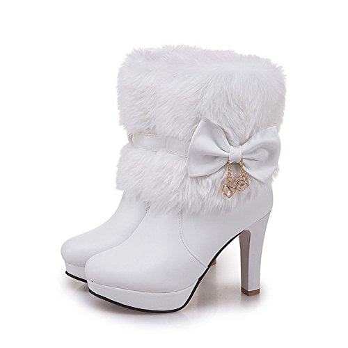 DecoStain Women's Faux Fur Bowtie&Glass Diamond Ornament High Heel Boots White nHegSXPE