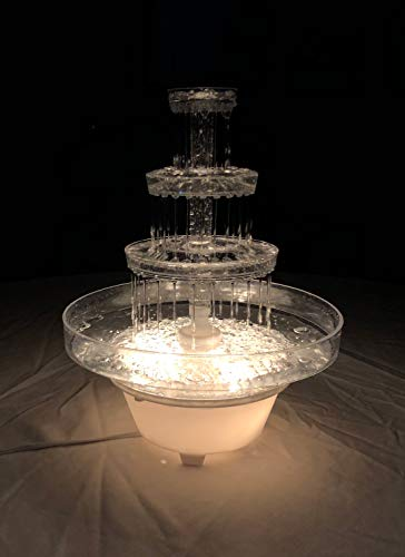 Water Cake - Lighted Plastic Water Fountain for Weddings, Garden, Home, Office, or Cake Centerpiece