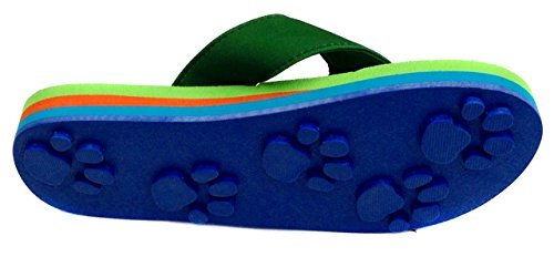 Tiger Green Medium Kids PAW Print Flip Flops Fun For Beach, Trail and Pool.