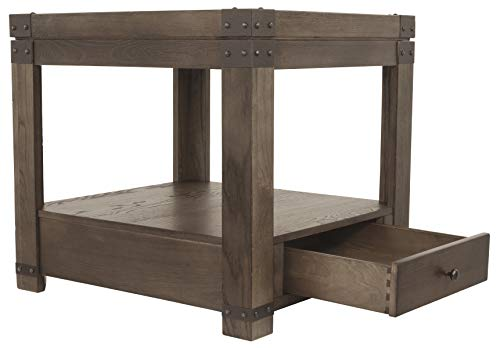 Signature Design by Ashley Burladen Rectangular End Table Grayish Brown