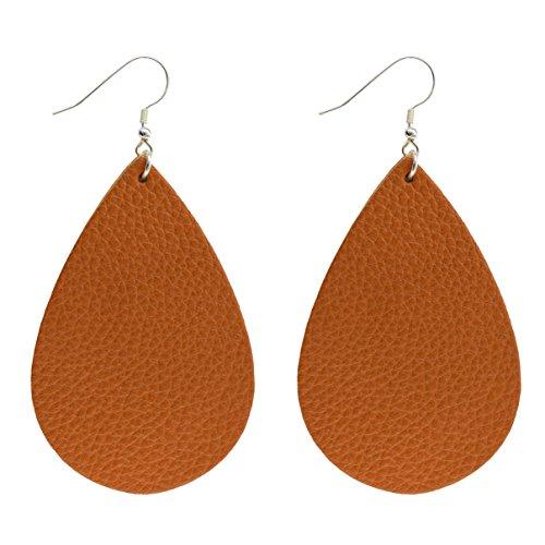 Wooworld Womens Leather Teardrop Earrings,Sterling Silver Hoop Earrings Various Colors (Brown)