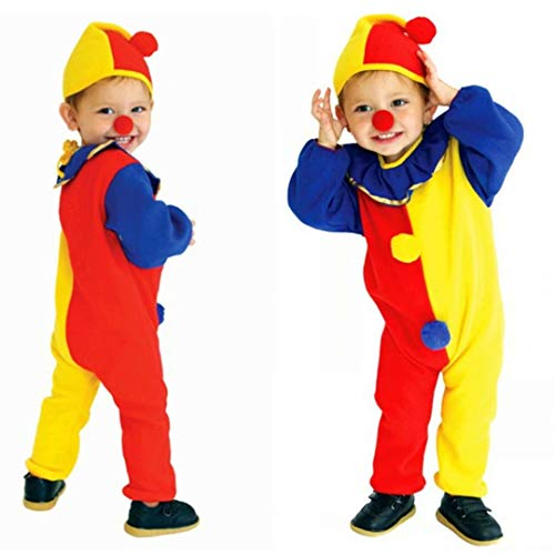 Halloween Child's Clown Costume Kids Baby Jumpsuits Toddlers Dress Up Carnival Circus Cosplay Party Clothes with Clown Nose and Clown hat-Medium