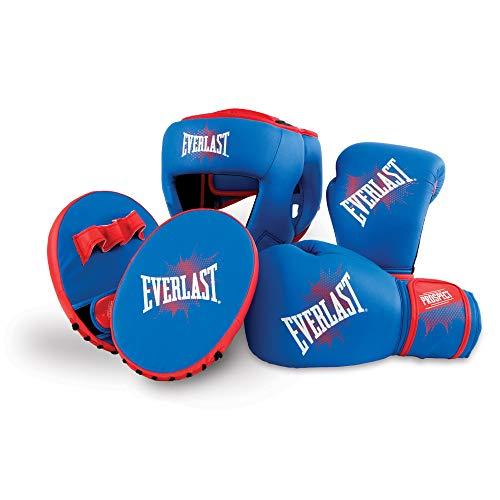 Headgear Boxing Gloves (Everlast Prospect Mitt Kit - Kids 8oz Boxing Glove, Focus Mitts, and Headgear)