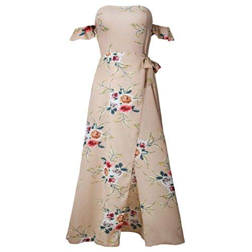Shoulder Summer Off Boho Floral Chiffon Beach KIMODO Khaki Women Print Dresses Dress Long qUFt4I