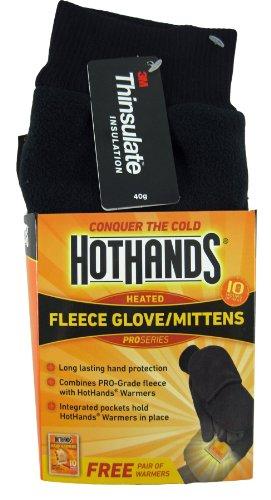 HotHands Heated Fleece Glove / Mittens (Black, Medium/ Large) (Heater Ear)