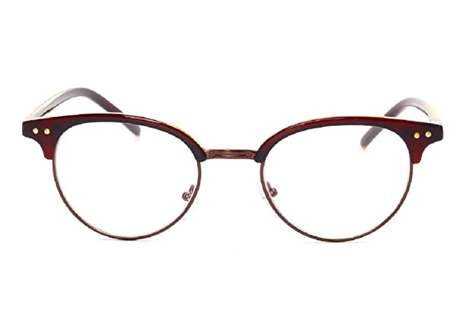 92cf87fc87b3 Unisex JTS1813 Plastic Half-frame Metal Rim Studded Browline Eyeglasses  (Brown
