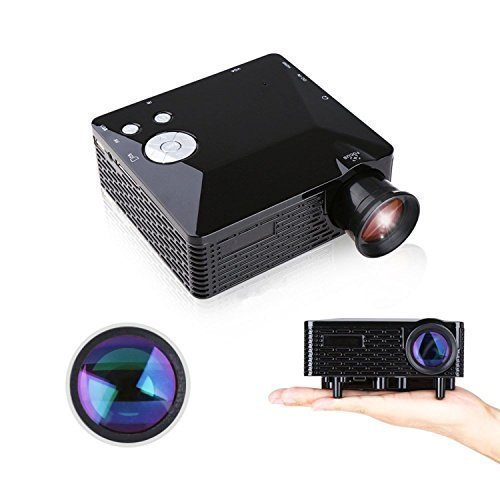 Home Theater Projector, 80'' Multi-media Portable Mini LED Projector for Home Cinema Video Games Family Entertainment with HDMI USB SD AV VGA Port - Black