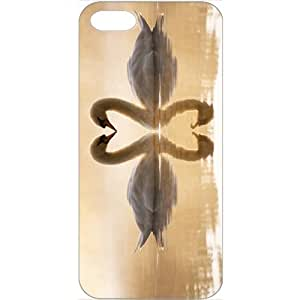 DIY Apple iPhone 5 Case Customized Gifts Personalized With Animals loving swans Animals Birds White