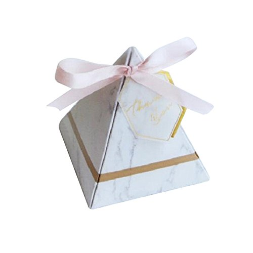 100Pcs Wedding Candy Box with Thank You Tags Marble Pattern Pyramid Shape Design Birthday Party Favor Candy Boxes Kids Birthday Boxes Party Supplies (L)