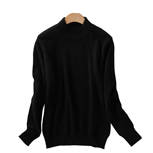 (Always Pretty Women's Slim Mock Neck Wool Knit Jumper Sweater Tops Pullover Black S )