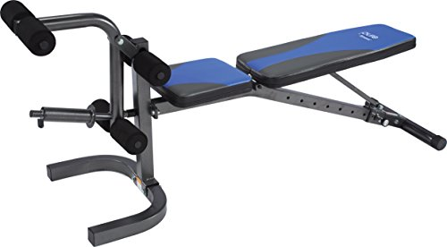 Pure Fitness Weight Training/Workout: Adjustable FID (Flat, Incline and Decline) Utility Bench, Blue/Black