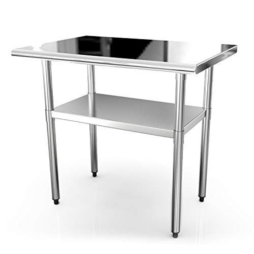 36x24 Inches Commercial Prep Table NSF Stainless Steel Work Tables for Shop Restaurant Home Outdoor Worktable Worktops Food Preparation (Stainless Steel Folding Table)