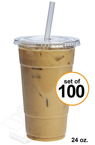 COMFY PACKAGE 100 Sets 24 oz. Plastic CRYSTAL CLEAR Cups with Flat Lids for Cold Drinks, Iced Coffee, Bubble Boba, Tea, Smoothie (Clear Plastic Cold Cups)