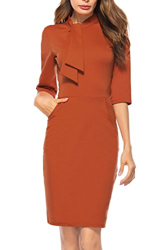 Berydress Women's Vintage Chic 50s Tie Neck 3/4 Sleeve Sheath Bodycon Cocktail Party Pencil Dress Pockets (M, 6068-orange) - Vintage Pencil Dress