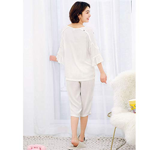 Embroidery Cotton XXL Beautiful Women's Floral HUXIUPING Cotton Pajamas dimensioni Sleeves q1IFwpP1x