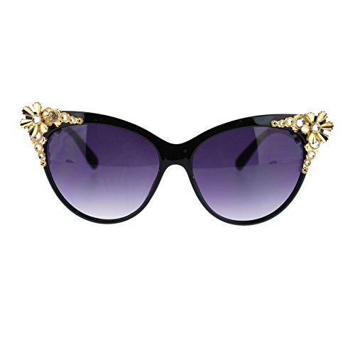 Floral Cat (Womens Gothic Diva Floral Rhinestone Jewelry Cat Eye Sunglasses Black Gold)