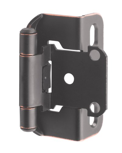 1/2in (13 mm) Overlay Self-Closing, Partial Wrap Oil-Rubbed Bronze Hinge - 2 Pack