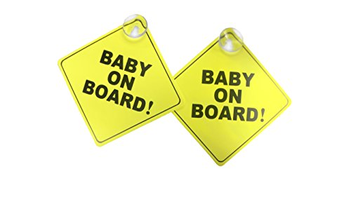 Now with 2 Additional Suction Cups. Stronger Suction. Baby on Board car Sign with Suction Cup. Heat Resistant and Very Effective Suction Cup.